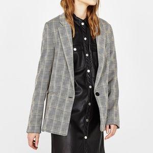 Bershka Blazer Suit Jacket 1 Button S Plaid Black